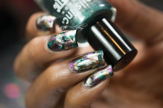 Lacquer Lockdown - Masura Mani, masura magnet, magnetic nail polish, nails inc magnetic nail polish, stone effect nail art, jewlstone nail art, magnet mani, magnet nail art,