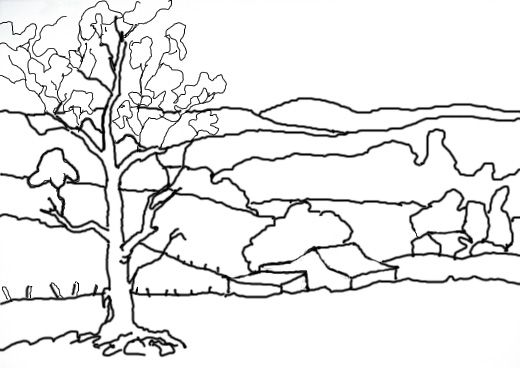 Line Art Nature : Right brain draw session landscapes nature