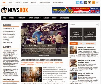 NewsBox is a Responsive, 3 Columns Blogger Template for News Blogs. NewsBox Blogger Template has a jQuery Slider, Social Buttons, Dropdown Menus, 468x60 Header Banner, Related Posts, Breadcrumb, Left and Right Sidebars, 3 Columns Footer, Tabbed Widget, Google Fonts and More Features