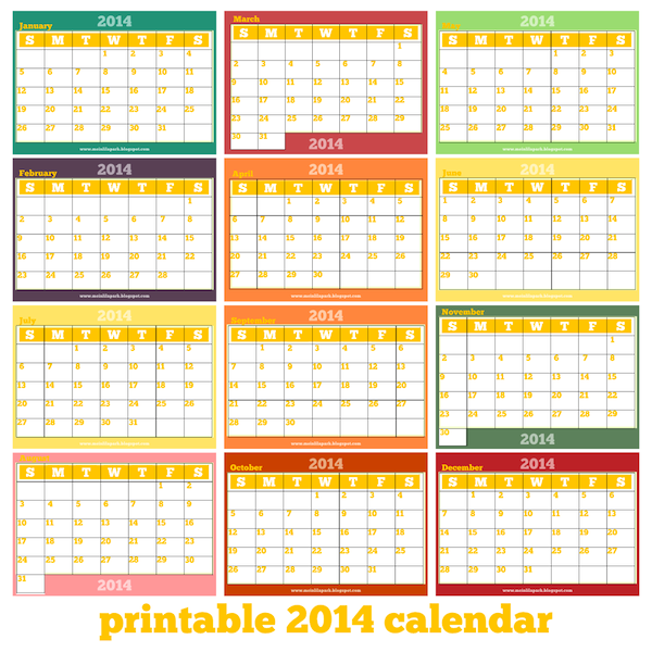 Free printable monthly 2014 calendar 2014 kalender for Yearly planning calendar template 2014