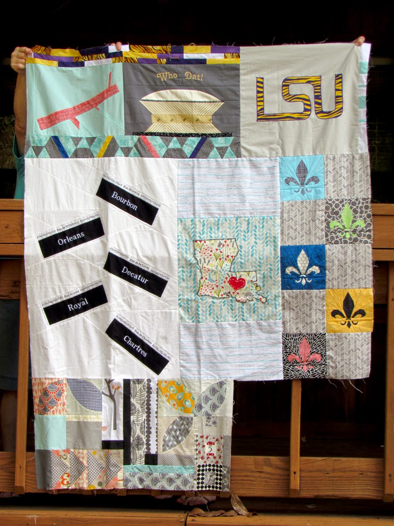 Kelly's Louisiana Traveling Quilt - improv orange peel added by Marty Mason