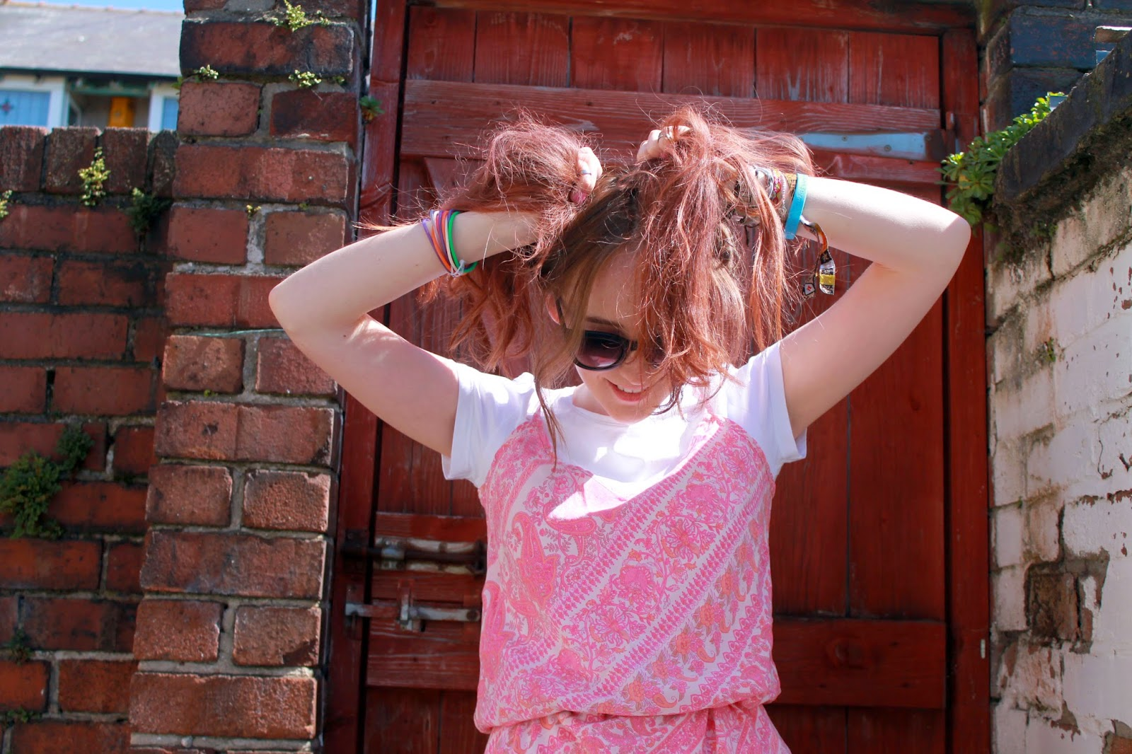 pink hair chalk from the body shop, pink paisley slip dress