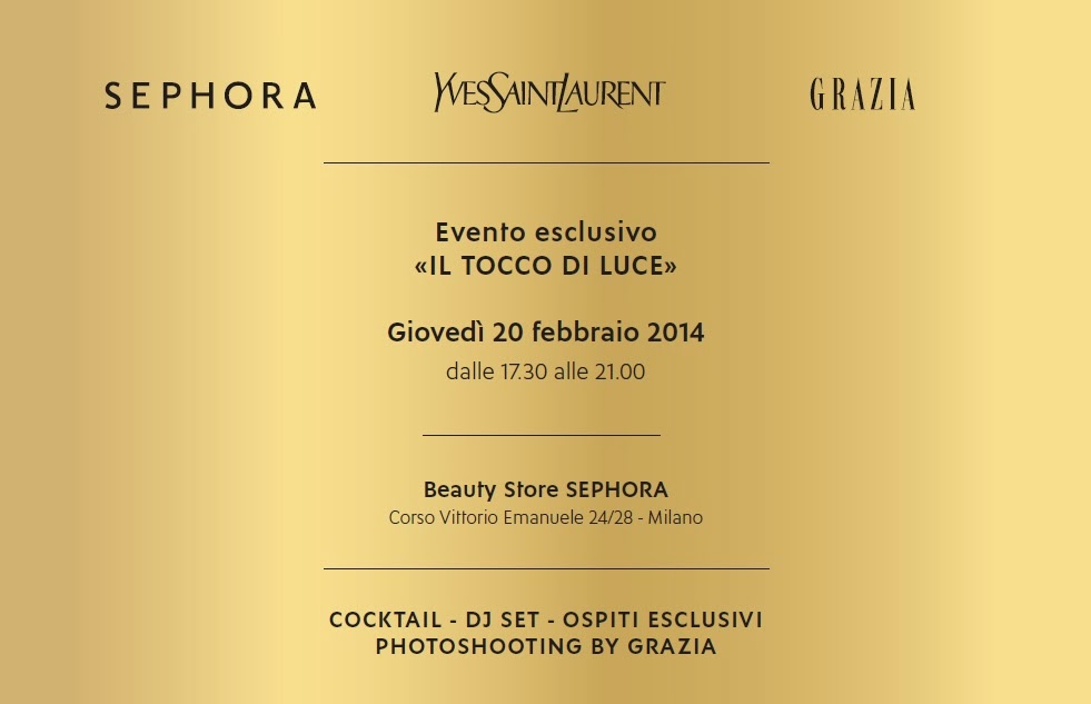 GRAZIA.IT, ysl, sephora, selfie, concorso, contest, il tocco di luce, instagram, party, milano fashion week 2014
