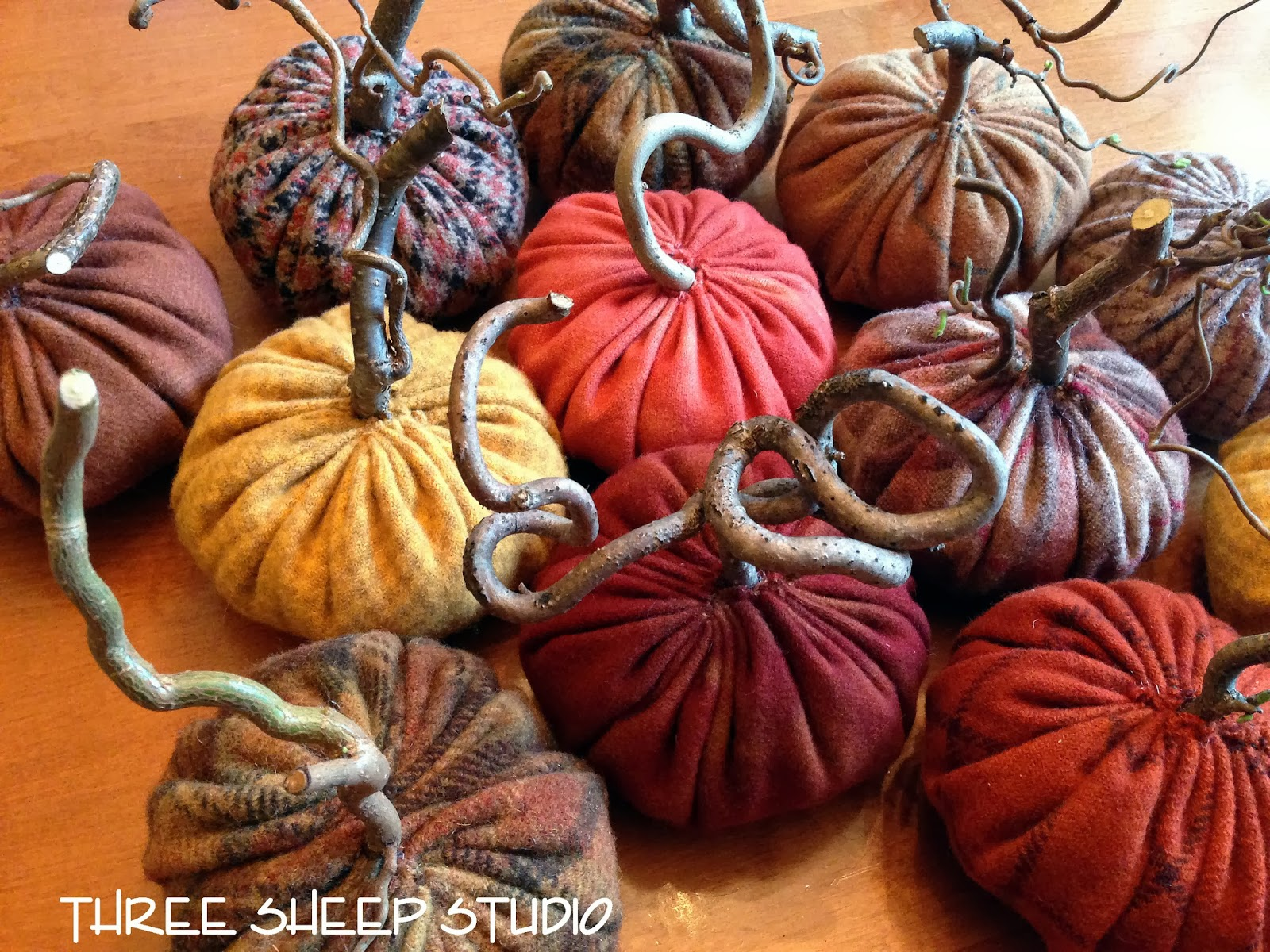Rustic Wool Pumpkins With Angry Gnarled Stems