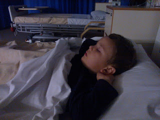 Big Boy asleep in his hospital bed