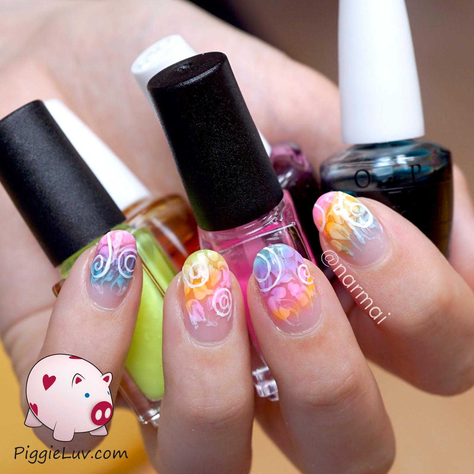 PiggieLuv: Sheer tints swirls easy nail art
