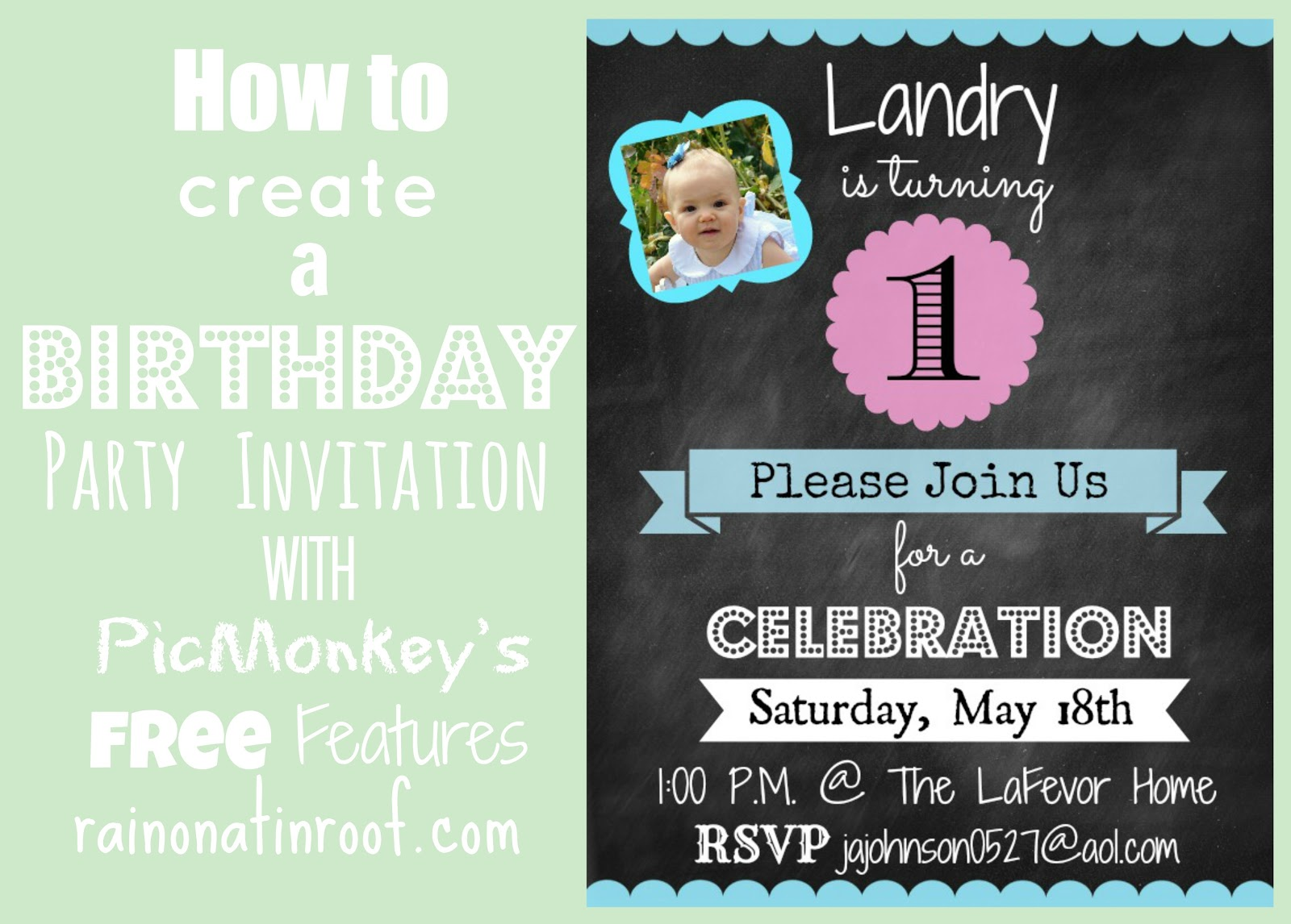 How To Create An Invitation In PicMonkey - Birthday invitation in word