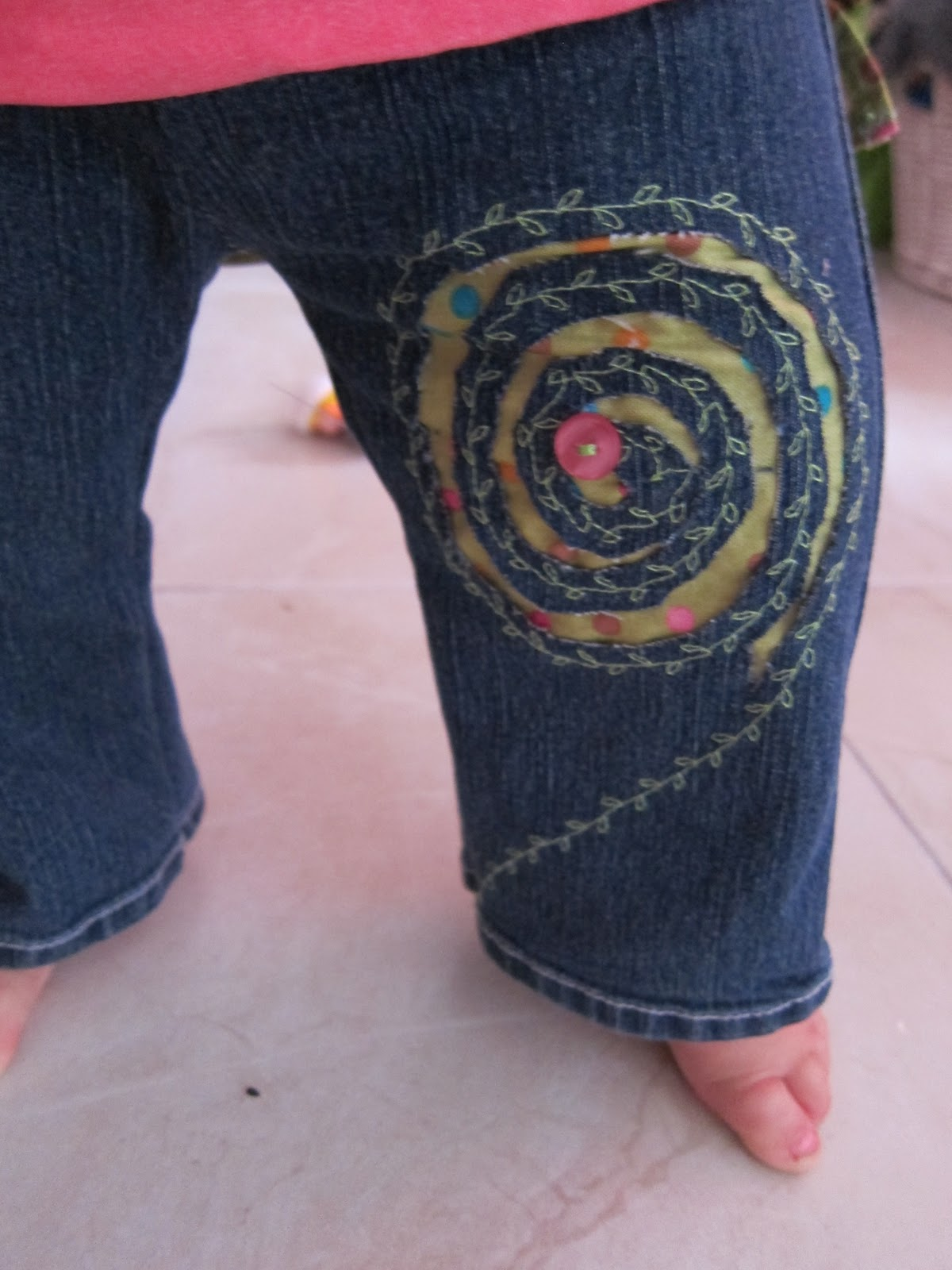 ... Mother: Refashion baby jeans with reverse applique & bum ruffles