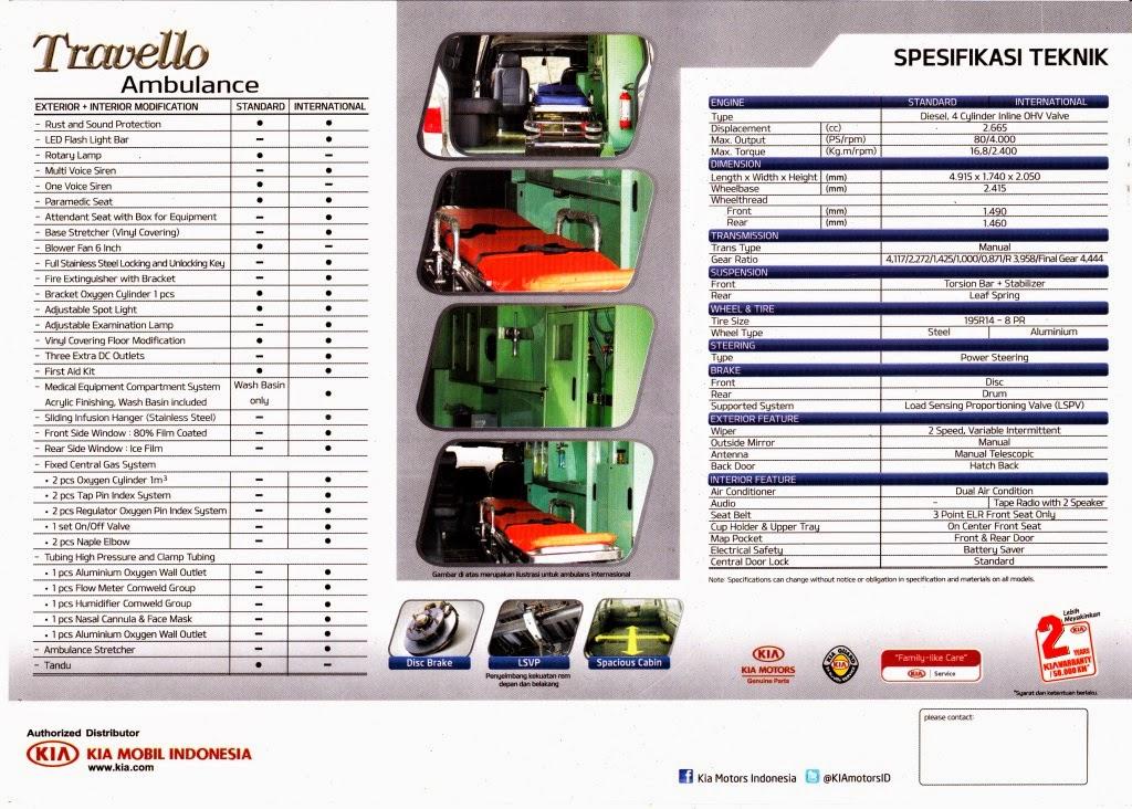 Spesifikasi KIA Travello Ambulance Bekasi