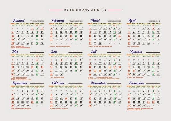 Kalender 2015 Indonesia Lengkap CorelDraw Bisa Diedit. Kalender 2015