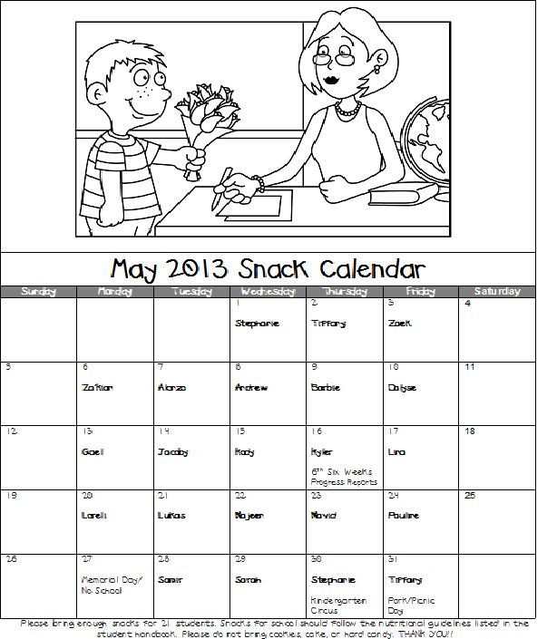Calendar May 2013 : Mrs pullen s kindergarten class may snack calendar