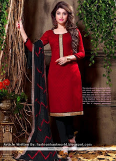 Demure Embroidered Work Cotton Churidar Suits / Black Churidar Suits
