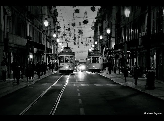 street lights at black and white photo