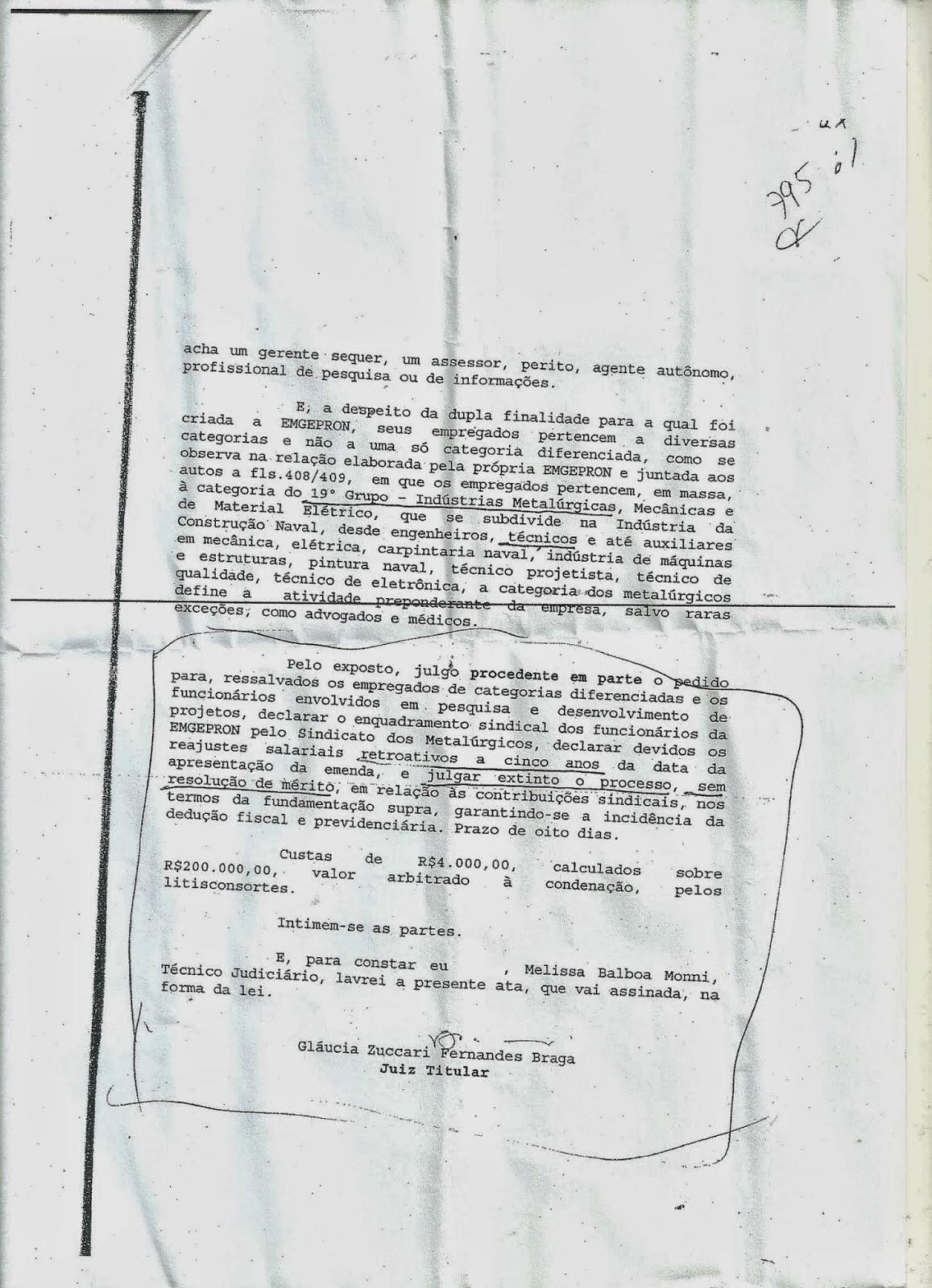 Sentença de 2009 que o Ministro do TST, Fernando Eizo Ono, mandou a Estatal Emgepron Cumprir