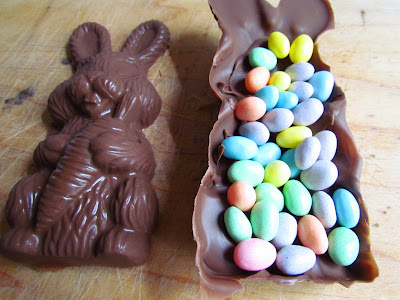 chocolate bunny full of jelly beans