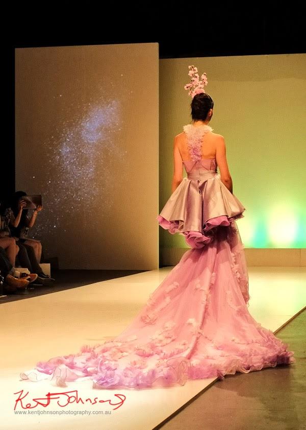 William Utama, pink and silver ruffled evening dress with long train -  New Byzantium : Raffles Graduate Fashion Parade 2013 - Photography by Kent Johnson.