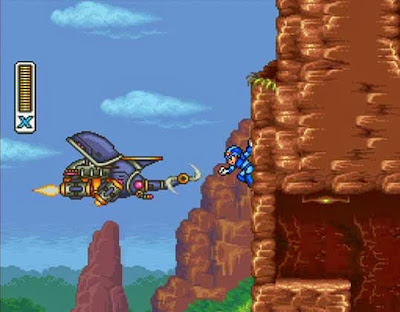 Screenshot of X climbing a brown wall and looking at a flying enemy in Mega Man X2