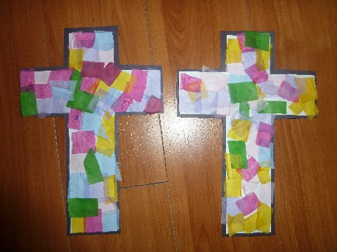 This was a simple craft that looks really cute displayed for Cross craft for kids