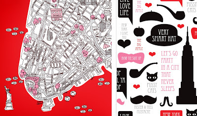 Valentine's day - I love New York | Fashionable illustrated map of