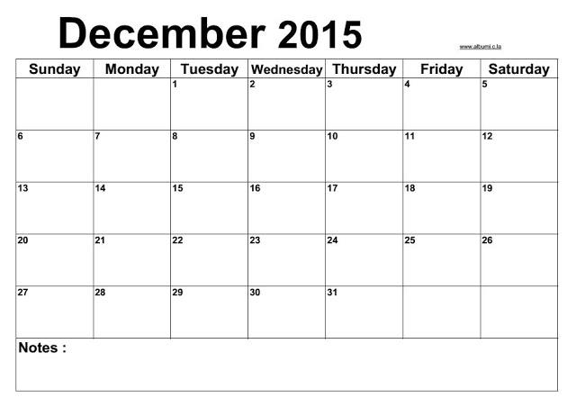 blank calendar december 2015 free printable | calendars 2017 kalendar ...