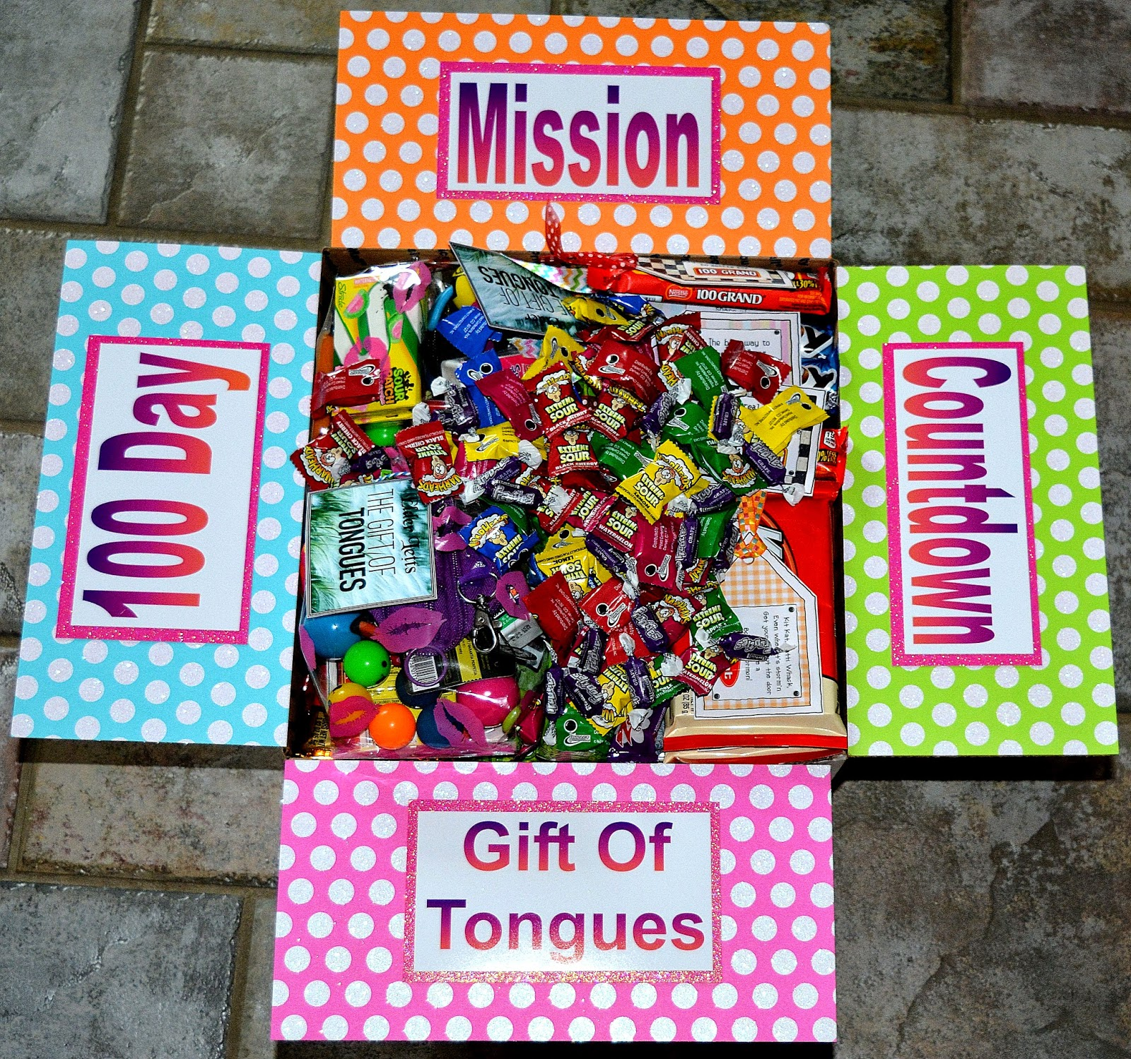 Lds missionary care package kits ideas missionary box moms gift gift of tongues 100 day mission countdown box negle Images