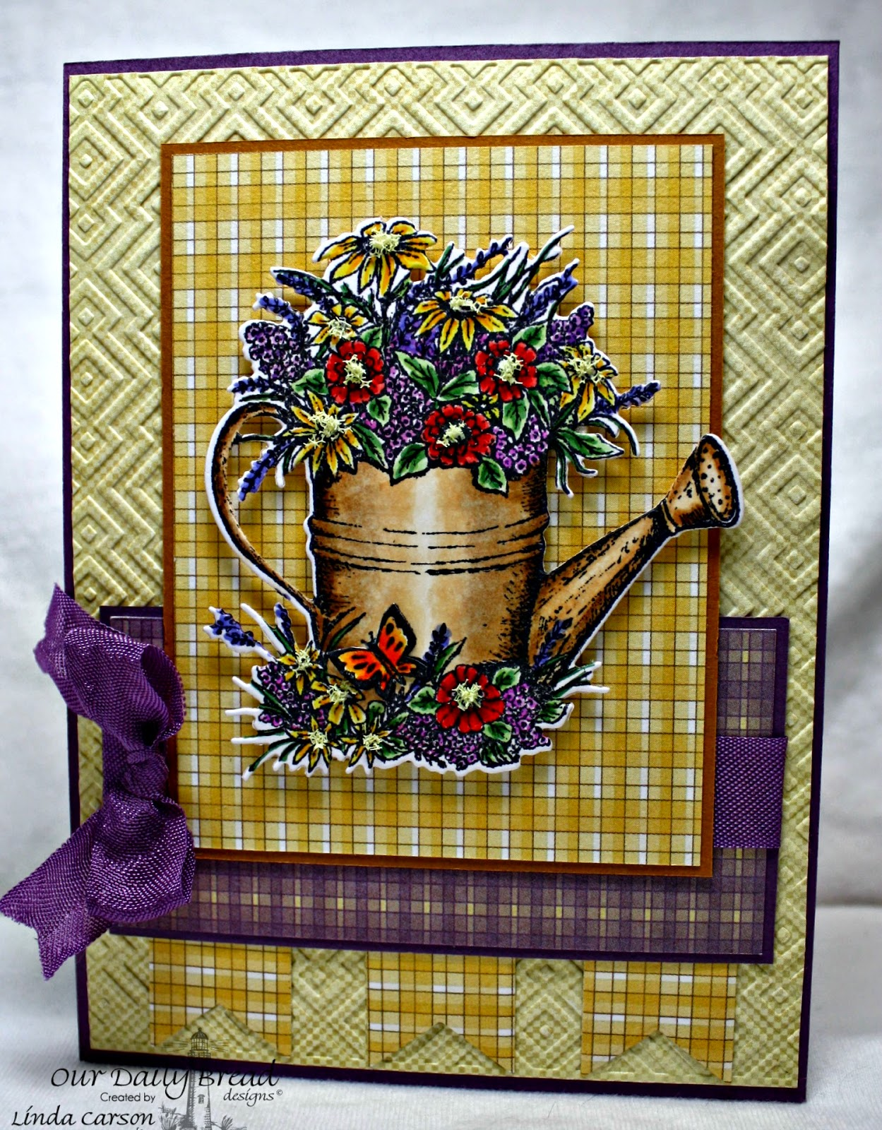 Our Daily Bread Designs, Happy Birthday, Watering Can die, Pennant die, designer Linda Carson