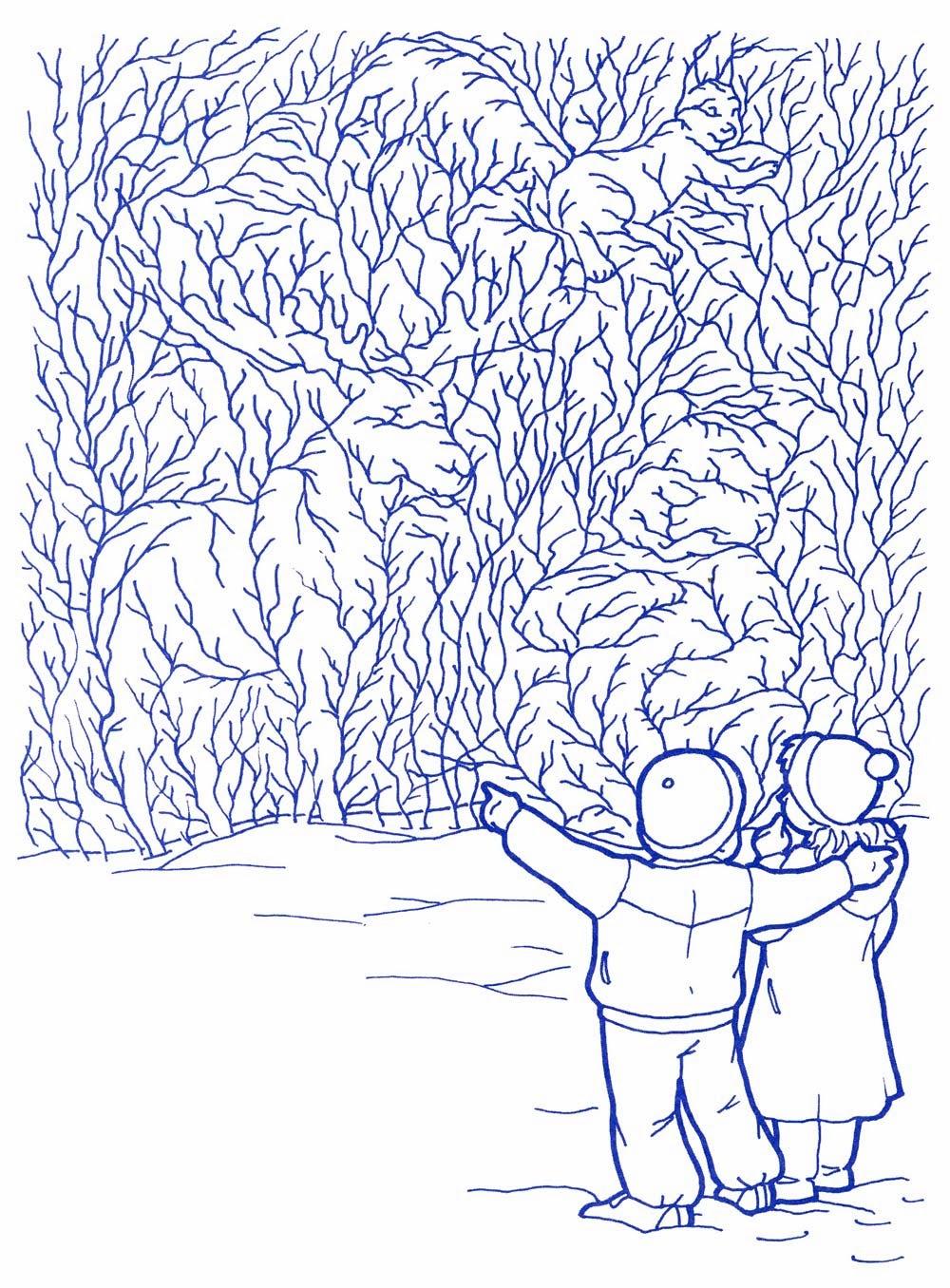 Раскраска с изображением зимы