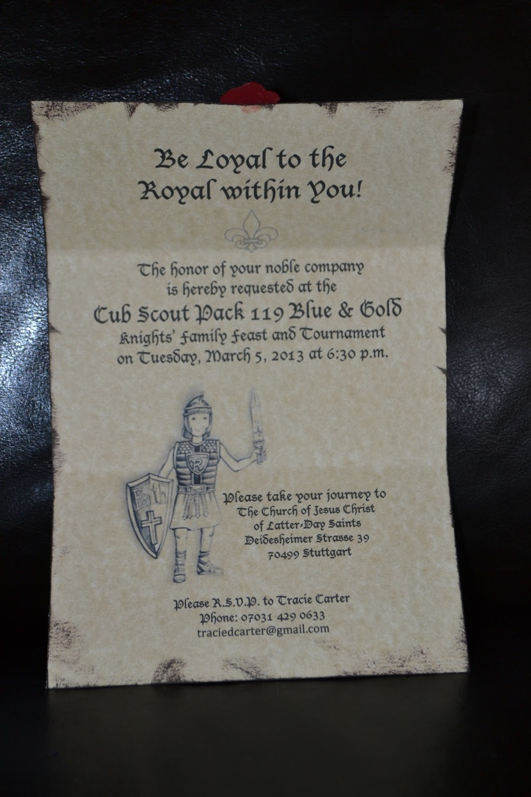 Carter Chronicle: Medieval Royal Cub Scout Blue & Gold Banquet