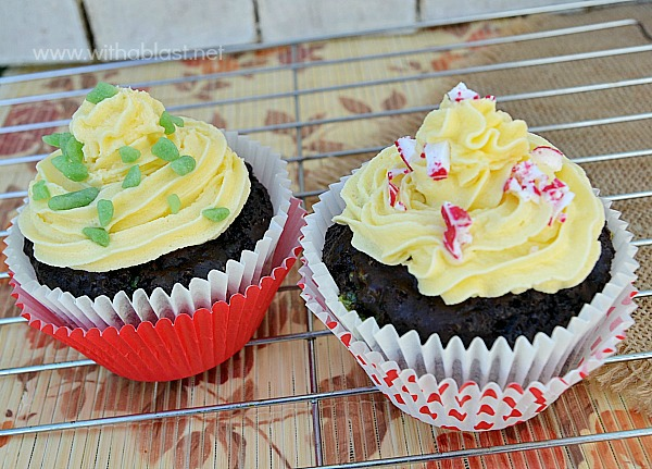 Chocolate Peppermint Cupcakes {with a rich Buttercream Frosting} ~ Very pepperminty, moist cupcakes with a simple but rich buttercream frosting and sprinkled with Candy Cane and Mint Crunch #Cupcakes #Christmas www.withablast.net
