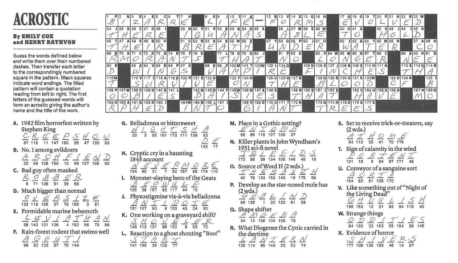 The new york times crossword in gothic october 2012 for Portent in crossword