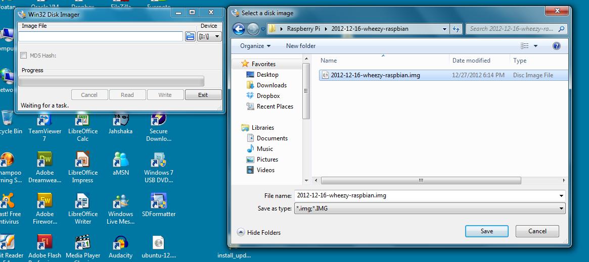 win32 disk imager carregando wheezy