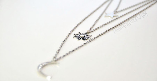 Photo of the sun, moon, and stars 3-layer necklace from Born Pretty Store.