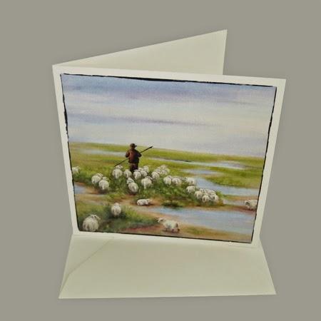 Atelier for Hope Kunstkaart incl. enveloppe, afbeelding schilderij herder, kaart psalm 23, christelijke kaart, bijbelse kaart