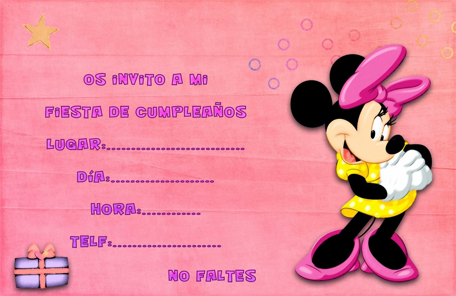 Tarjeta para invitaciones de cumpleaños Minnie | Invitaciones ...