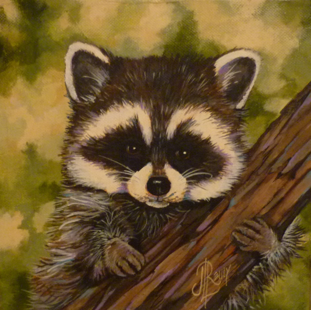 J.L. Remy Studio: 30 day painting challenge, Mouse and Raccoon Raccoon Painting