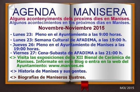AGENDA MANISERA, SEMANA 48 DE 2015