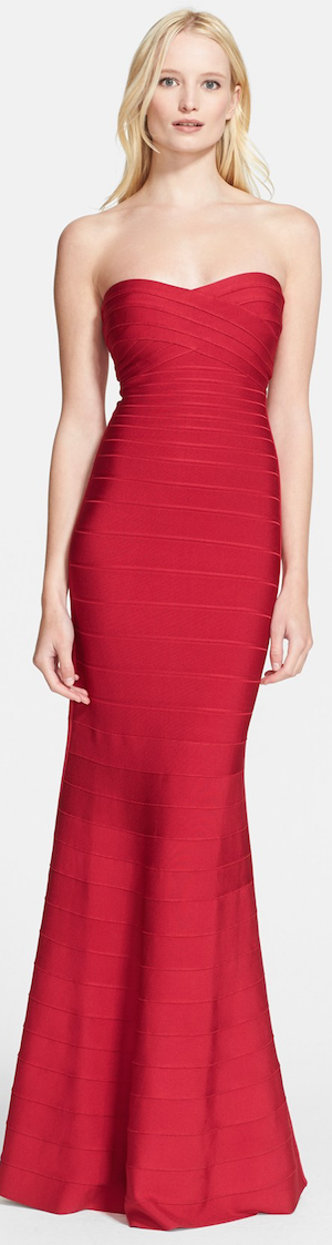 Herve Leger Bandage Mermaid Gown RED