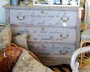 French script antique chest