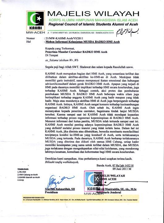 Yakin Usaha Sampai Surat Mw Kahmi Aceh Kepada Penerima