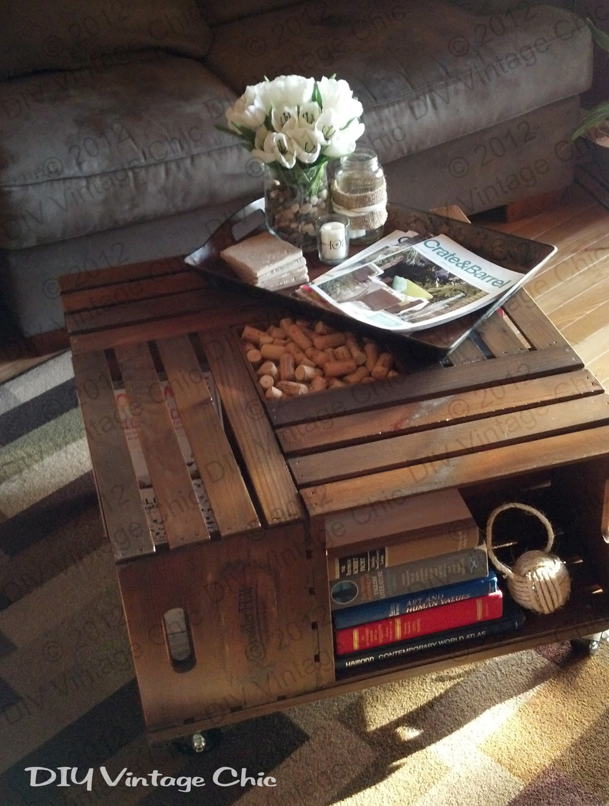 Diy vintage chic vintage wine crate coffee table a leg of our old coffee table is about to give out the reason why my kitchen table is where my laptop sits along with my printer usually partsmaterials geotapseo Choice Image