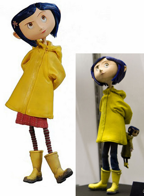 Coraline inspiration image, with yellow raincoat and little me doll