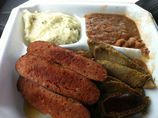 Bill's Bar-B-Q BBQ Barbecue Barbeque White Settlement Fort Worth Texas Combo Plate Brisket Hot Links Sausage Potato Salad Beans