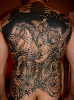 Back Piece Japanese Samurai Tattoo Designs