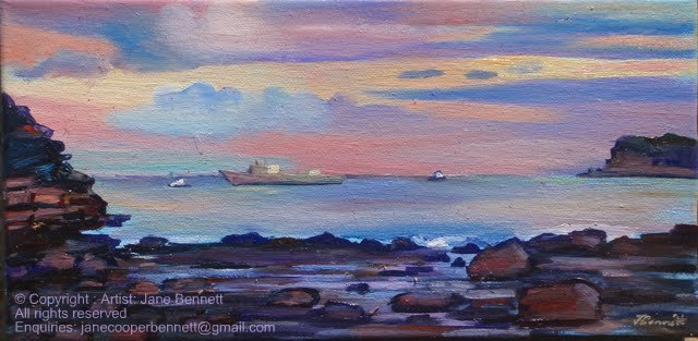 plein air oil painting of Ex HMAS Adelaide off North Avoca painted on the Skillion at sunset by artist Jane Bennett