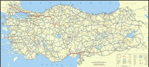 T�rkiye Kara Yollar� Haritas� (ayr�nt�l�)
