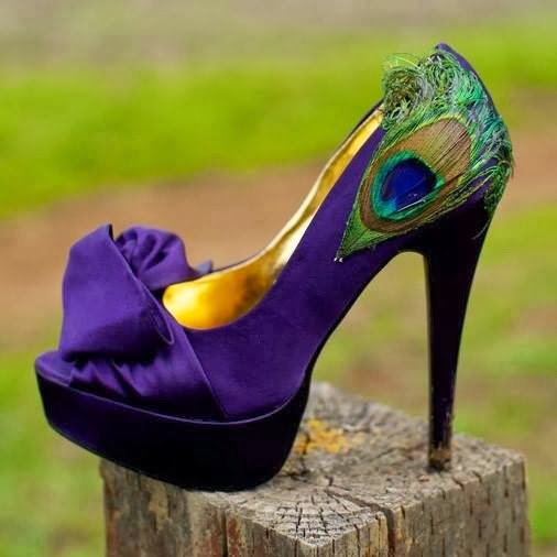 Elegant Peep-Toe Peacock Feather Stiletto Heel Prom Shoes