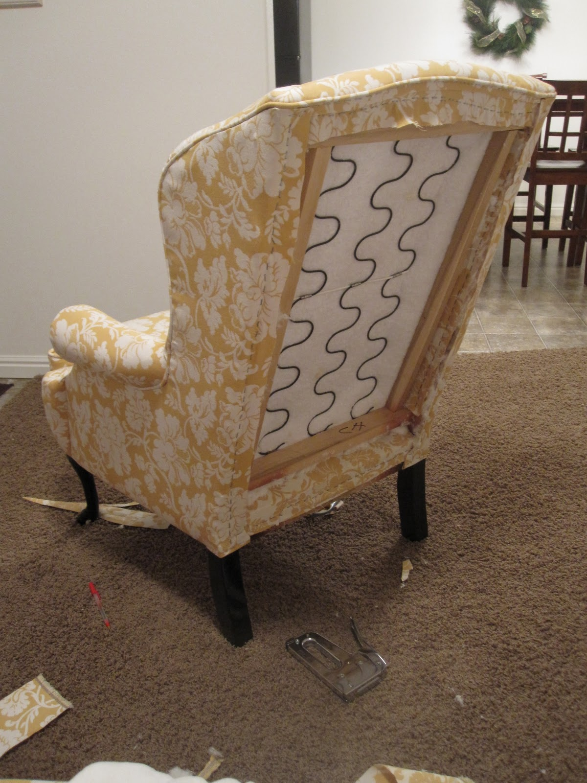 all things campbell diy torture i e reupholstering a wingback