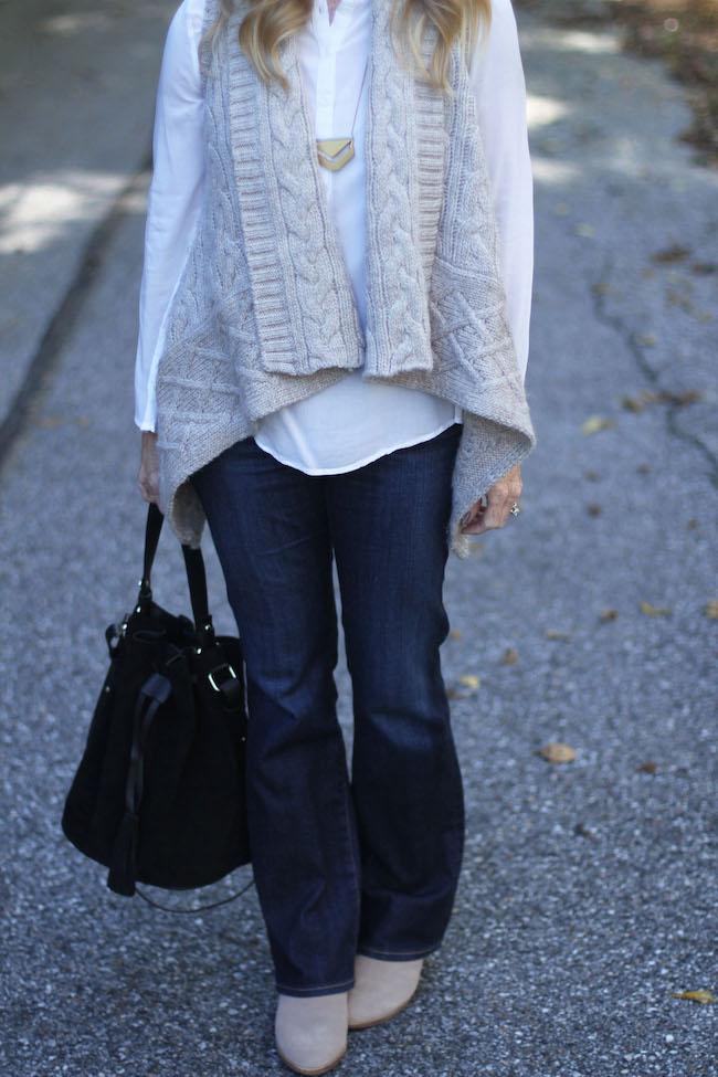 ag angelina jeans, vita fede bracelet, madewell necklace, loft vest, mango bucket bag