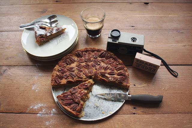 Pecan Pie, noten, taart, recept, koffie,