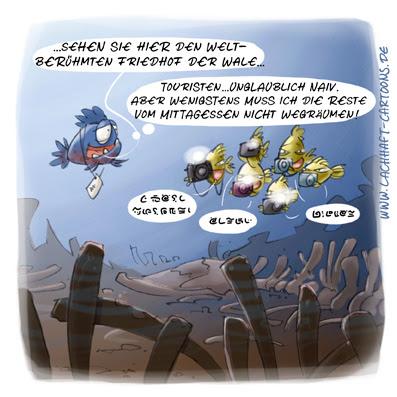 LACHHAFT Cartoon Piranhas Walfriedhof Friedhof der Wale Touristen Sightseeing Japaner Mittagessen naiv Naivität Cartoons Witze witzig witzige lustige Bildwitze Bilderwitze Comic Zeichnungen lustig Karikatur Karikaturen Illustrationen Michael Mantel Spaß Humor